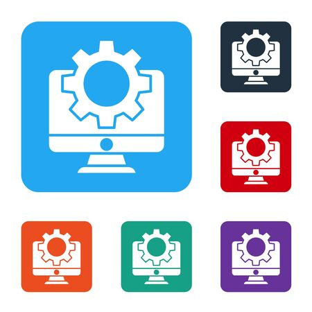 White Computer monitor and gear icon isolated on white background. Adjusting, service, setting, maintenance, repair, fixing. Set icons in color square buttons. Vector