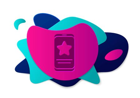Color Mobile phone with review rating icon isolated on white background. Concept of testimonials messages, notifications, feedback. Abstract banner with liquid shapes. Vector