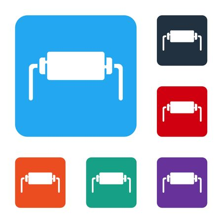 White Resistor electricity icon isolated on white background. Set icons in color square buttons. Vector