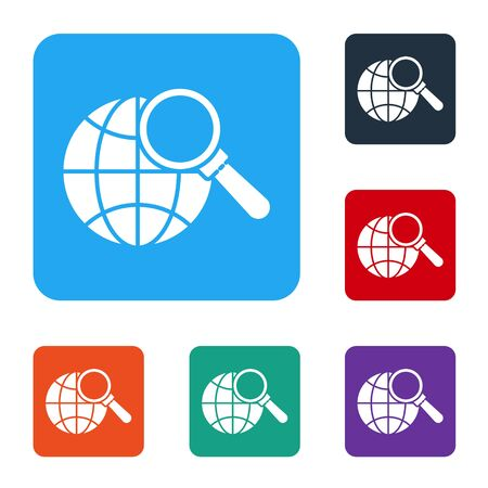 White Magnifying glass with globe icon isolated on white background. Analyzing the world. Global search sign. Set icons in color square buttons. Vector