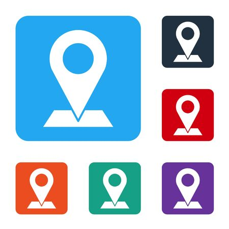 White Map pin icon isolated on white background. Navigation, pointer, location, map, gps, direction, place, compass, search concept. Set icons in color square buttons. Vector Ilustrace