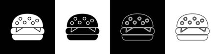 Set Burger icon isolated on black and white background. Hamburger icon. Cheeseburger sandwich sign. Fast food menu. Vector Illustration Zdjęcie Seryjne - 147570821