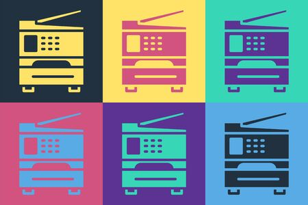 Pop art Printer icon isolated on color background. Vector