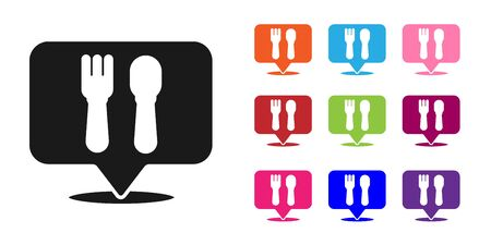 Black Cafe and restaurant location icon isolated on white background. Fork and spoon eatery sign inside pinpoint. Set icons colorful. Vector.