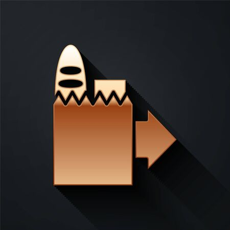 Gold Online ordering and fast food delivery icon isolated on black background. Long shadow style. Vector Ilustracja