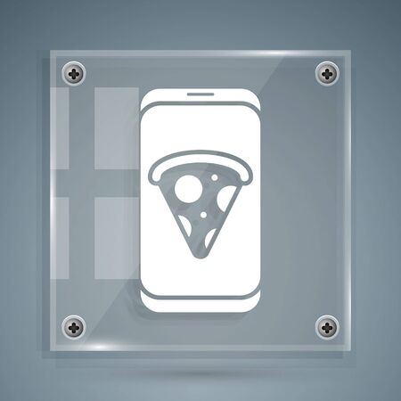 White Food ordering pizza icon isolated on grey background. Order by mobile phone. Restaurant food delivery concept. Square glass panels. Vector