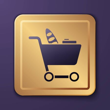 Purple Shopping cart and food icon isolated on purple background. Food store, supermarket. Gold square button. Vector