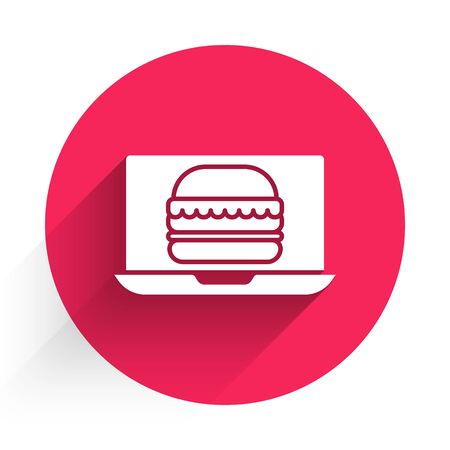 White Online ordering and burger delivery icon isolated with long shadow. Red circle button. Vector