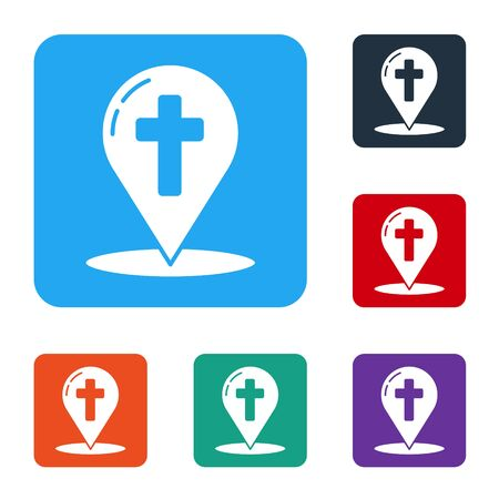 White Map pointer with christian cross icon isolated on white background. Set icons in color square buttons. Vector Illustration