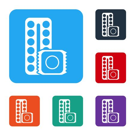 White Packaging of birth control pills and condom in package safe sex icon isolated on white background. Contraceptive pill. Set icons in color square buttons. Vector Illustration