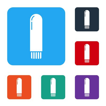 White Dildo vibrator for sex games icon isolated on white background. Sex toy for adult. Vaginal exercise machines for intimate. Set icons in color square buttons. Vector