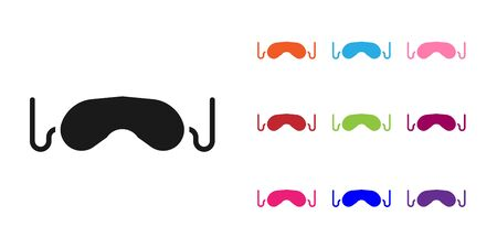Black Eye sleep mask icon isolated on white background. Set icons colorful. Vector
