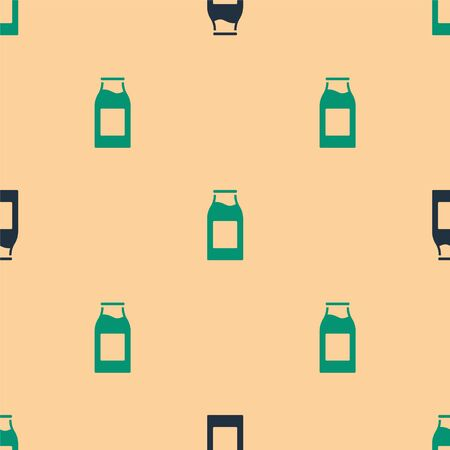 Green and black Closed glass bottle with milk icon isolated seamless pattern on beige background. Vector Ilustracja