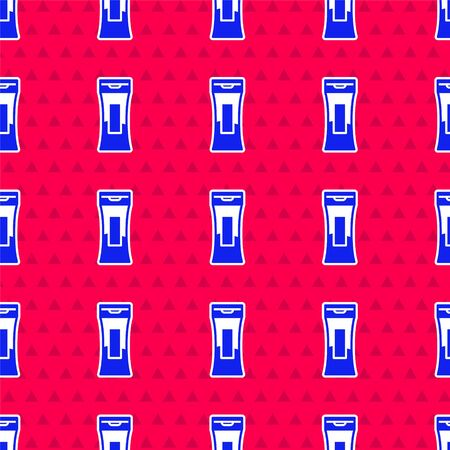 Blue Bottle of shampoo icon isolated seamless pattern on red background. Vector