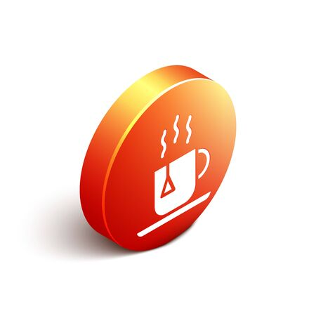 Isometric Cup of tea with tea bag icon isolated on white background. Orange circle button. Vector