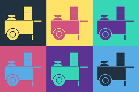 Pop art Fast street food cart icon isolated on color background. Urban kiosk. Vector Ilustracja