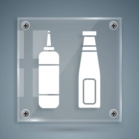 White Sauce bottle icon isolated on grey background. Ketchup, mustard and mayonnaise bottles with sauce for fast food. Square glass panels. Vector