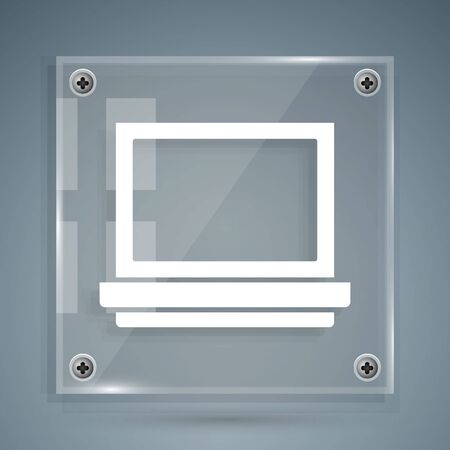 White Makeup powder with mirror icon isolated on grey background. Square glass panels. Vector