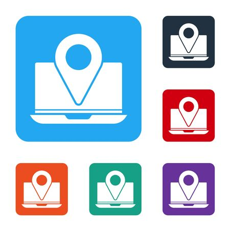 White Laptop with location marker icon isolated on white background. Set icons in color square buttons. Vector Ilustrace