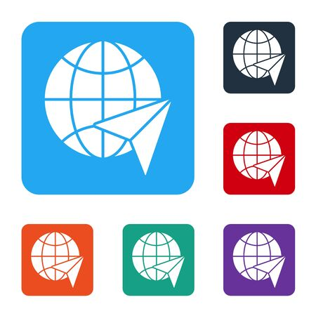 White Globe with flying plane icon isolated on white background. Airplane fly around the planet earth. Aircraft world icon. Set icons in color square buttons. Vector Ilustrace