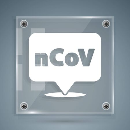 White Corona virus 2019-nCoV on location icon isolated on grey background. Bacteria and germs, cell cancer, microbe, fungi. Square glass panels. Vector