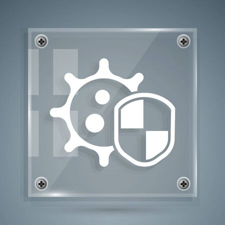 White Shield protecting from virus, germs and bacteria icon isolated on grey background. Immune system concept. Corona virus 2019-nCoV. Square glass panels. Vector Vectores