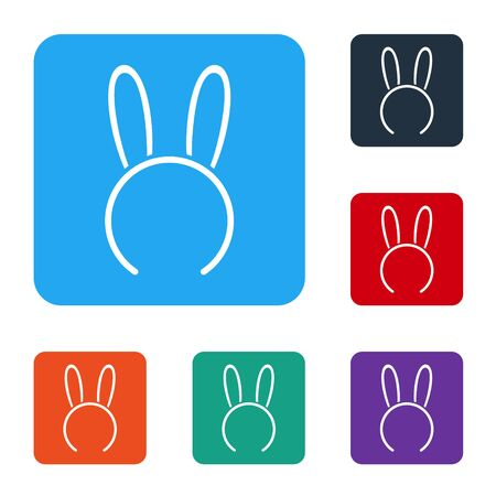 White Mask with long bunny ears icon isolated on white background. Fetish accessory. Sex toy for adult. Set icons in color square buttons. Vector