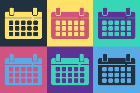 Pop art Calendar icon isolated on color background. Event reminder symbol. Vector Иллюстрация