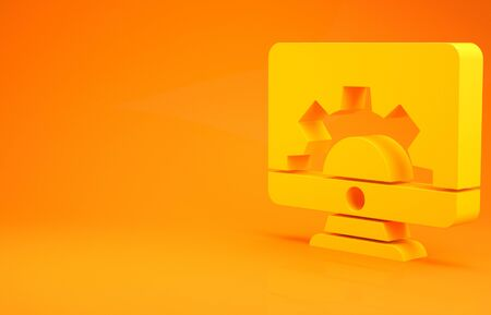Yellow Computer monitor and gear icon isolated on orange background. Adjusting, service, setting, maintenance, repair, fixing. 3d illustration 3D render Фото со стока