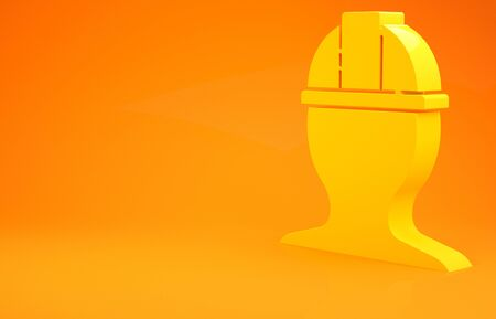 Yellow Worker safety helmet icon isolated on orange background. 3d illustration 3D render