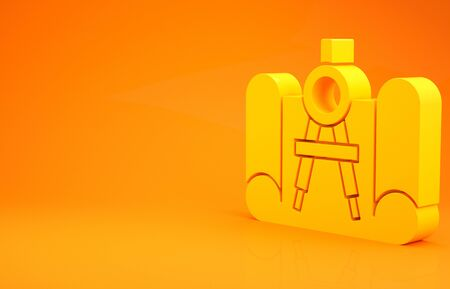 Yellow Graphing paper for engineering and drawing compass icon isolated on orange background. 3d illustration 3D render