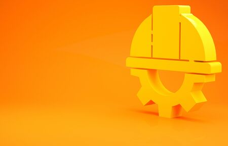 Yellow Worker safety helmet and gear icon isolated on orange background. 3d illustration 3D render