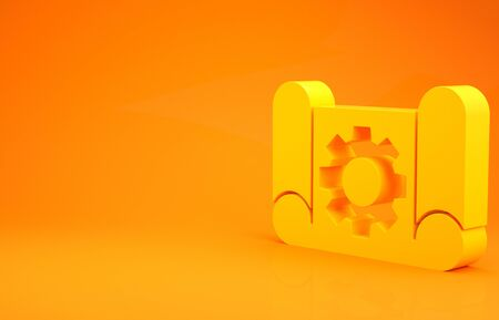 Yellow Graphing paper for engineering and gear icon isolated on orange background. 3d illustration 3D render