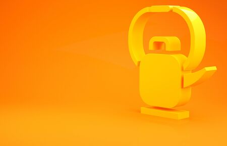 Yellow Kettle with handle icon isolated on orange background. Teapot icon. 3d illustration 3D render Archivio Fotografico