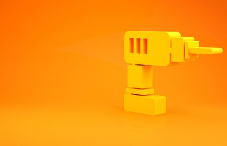 Yellow Electric drill machine icon isolated on orange background. Repair tool. Minimalism concept. 3d illustration 3D render