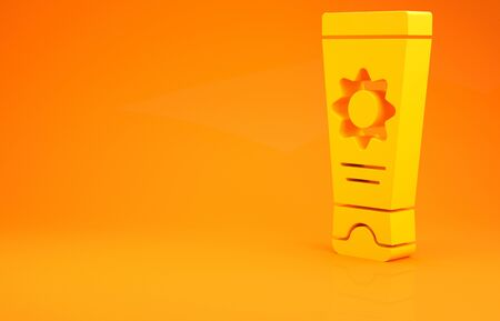 Yellow Sunscreen cream in tube icon isolated on orange background. Protection for the skin from solar ultraviolet light. 3d illustration 3D render Stok Fotoğraf