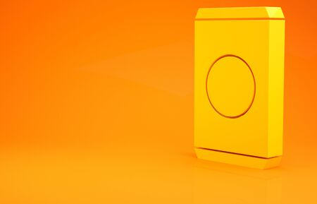 Yellow Soda can with drinking straw icon isolated on orange background. 3d illustration 3D render 版權商用圖片