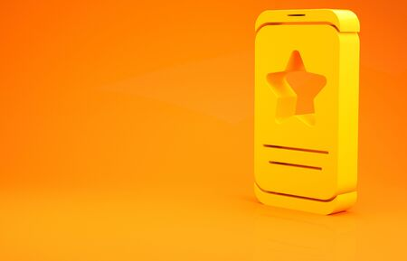 Yellow Mobile phone with review rating icon isolated on orange background. Concept of testimonials messages, notifications, feedback. 3d illustration 3D render