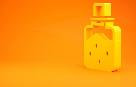 Yellow Spa salt icon isolated on orange background. 3d illustration 3D render