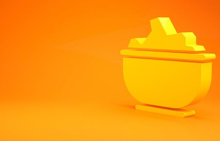 Yellow Sea salt in a bowl icon isolated on orange background. 3d illustration 3D render