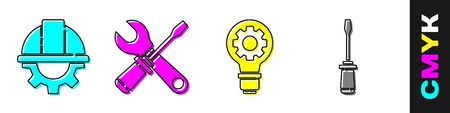 Set Worker safety helmet and gear, Screwdriver and wrench spanner, Light bulb and gear and Screwdriver icon. Vector.