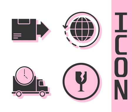 Set Fragile broken glass, Carton cardboard box, Logistics delivery truck and clock and Worldwide shipping and box icon. Vector