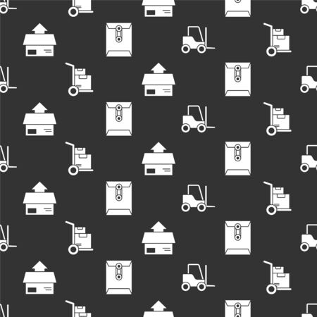 Set Forklift truck, Hand truck and boxes, Carton cardboard box and Envelope on seamless pattern. Vector