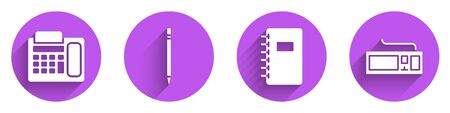 Set Telephone, Pencil with eraser, Spiral notebook and Keyboard icon with long shadow. Vector Vettoriali