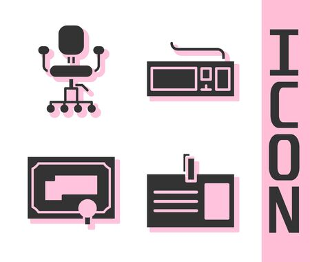Set Identification badge, Office chair, Certificate template and Keyboard icon. Vector. Ilustracja