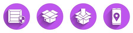 Set Delivery pack security with shield, Carton cardboard box, Cardboard box with traffic symbol and Mobile with app delivery tracking icon with long shadow. Vector. Ilustracja