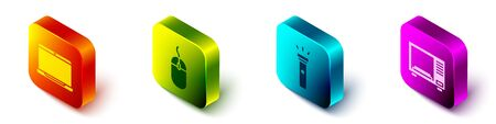 Set Isometric Laptop, Computer mouse, Flashlight and Microwave oven icon. Vector.