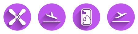Set Plane propeller, Plane landing, Airplane window and Plane takeoff icon with long shadow. Vector. Ilustracja