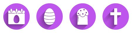 Set Calendar with Easter egg, Easter egg, Easter cake and Christian cross icon with long shadow. Vector