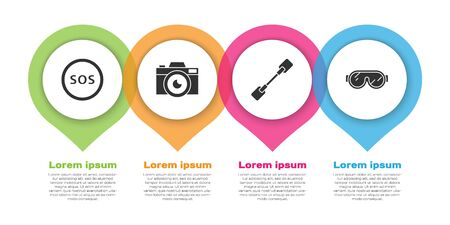 Set Location with SOS, Photo camera, Paddle and Ski goggles. Business infographic template. Vector.